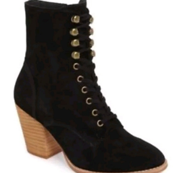 f921a1eb93b JEFFREY CAMPBELL Elman black suede lace up booties NWT